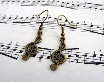 Treble clef earrings - music note charm - antique bronze - singer musician jewellery