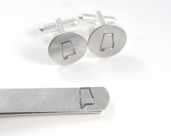 Custom State Tie Bar Cuff Link Set - State Suit Set - State Tie Bar - State Cuff Links - State Cufflinks - Choose Your State - Mens Gift Set