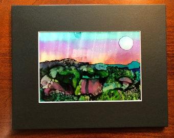 Moonlit garden - Alcohol ink painting