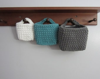 Hanging Baskets, Rectangle Storage Basket, Set of 3 Nesting, Crocheted to Hang on Doorknob or Hook, Use for Remotes, Toiletries, Cellphone