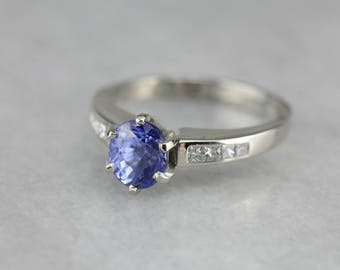 Modern Sapphire Engagement Ring, Sapphire and Diamond, Anniversary Ring 4JTL2TRD-D
