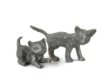 Pair Pewter Cat and Kitten Miniatures Toy Figurine Micro Mini Animals  Small Scale