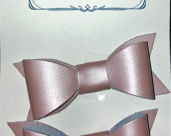 2 Pink leather hair bows