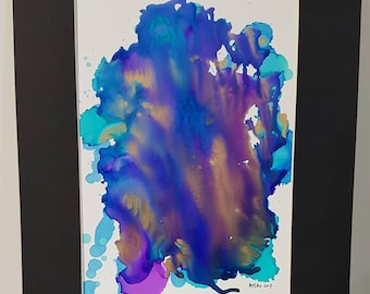 Falling Mixed media original alcohol ink painting matted and ready to frame