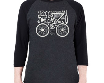 Bicycle Parts Graphic printed on Men's American Apparel 3/4 Sleeve Baseball Shirt