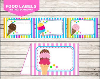 Ice Cream Food Labels instant download, Ice Cream Tent cards , Ice Cream Party Food tent cards