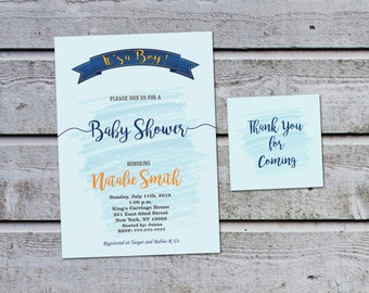 Baby Shower Invitations for Boys Baby Shower Invitation Boy Printable Baby Shower Invites Boy (V22) - Free Thank You Tags - Instant Download