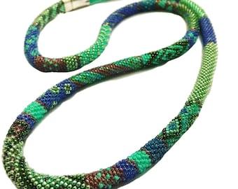 Sea Foam Necklace, Beaded Rope Jewellery, Boho Style, Bohemian necklace