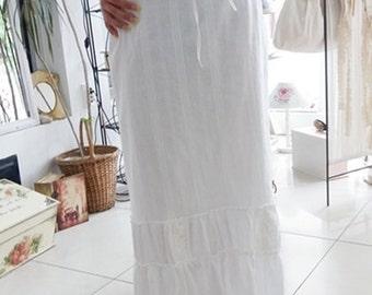 Maxi skirt,white maxi skirt, cotton maxi skirt, gypsy skirt