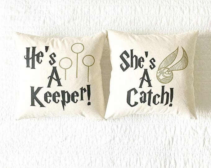 He's A Keeper/She's A Catch Pillow Set - Anniversary Gift, Gift for Women, Gift for Him, Book Lover, Gift for Her, Home Decor, Wedding Gift