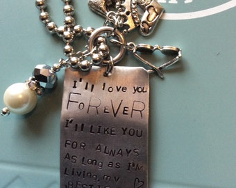 Love You Forever stamped metal necklace