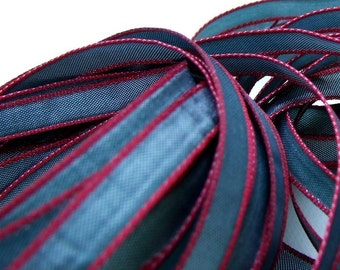 Gray Green plus Red Ribbon, 5 Yards, Luxe Ribbon, Decorative Trim, 1/4 inch, Gift Packaging Ribbon, Paper Crafting
