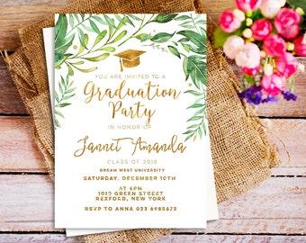 graduation party invites, graduation party invitation, greenery graduation invitation, modern gold, printable graduation party invites