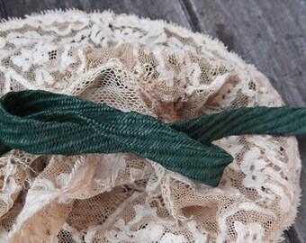 1 Foot 1950s Swiss Green Straw Ribbon - Cut to Order