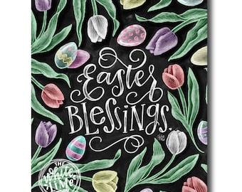 Easter Decor, Easter Art, Tulips, Easter Blessings, Chalk Art, Chalkboard Art, Chalk Lettering, Easter Eggs, He Is risen, Spring Art