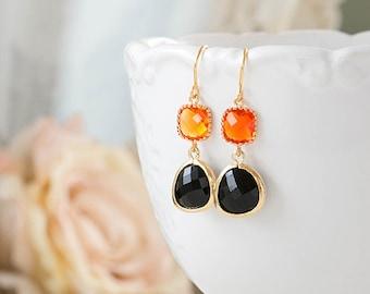 Gold Plated Orange and Black Earrings Tangerine Orange Dangle Earrings Jet Black Glass Drop Earrings Orange Black Wedding Bridesmaid Gift