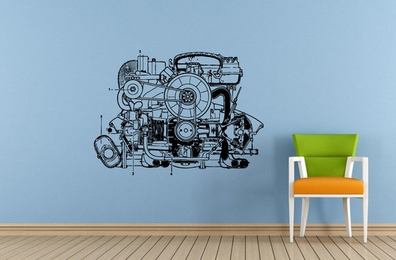 Car vehicle automobile engine motor parts blueprint wall decal like this item malvernweather Choice Image