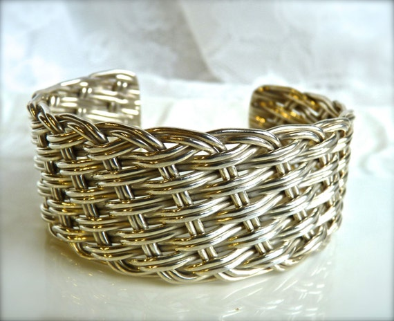 STERLING SILVER ~ CUFF ~ Braided Sterling Silver Cuff Bracelet ~ Vintage ~ Beautiful Design ~ Free Shipping