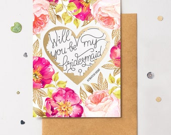 Will You Be My Bridesmaid - Gold Heart - Scratch It -  Floral No. 2