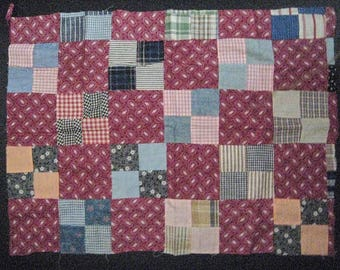 """Vintage Quilt Top Piece for Repurpose/Sewing/Crafts-Size is 22"""" wide x 16"""" high"""