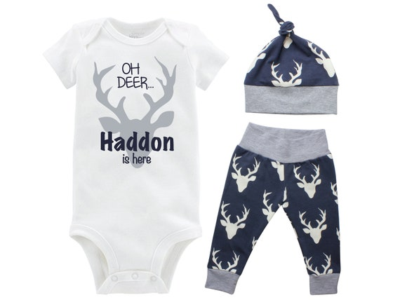 Oh Deer Boy Going Home Set Oh Deer Navy Gray Onesie Bodysuit Infant Gift Set Personalized Boy Coming Home Outfit Buck Deer Grey and Navy