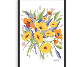 Framed Summer Blooms in Orange and Yellow