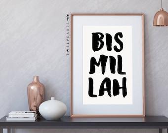 Bismillah, print, Islam typography, black & white, Islamicprint