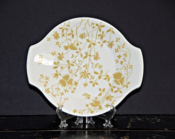 Sheffield Ironstone, Golden Meadow, Serving Platter, Gravy Underplate, Yellow Floral, Tapered Handles, Made in USA, Restaurant Ware, 1970s
