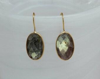 Labradorite Bezel Earrings, Gemstone Earrings, Bezel Set Earrings, Oval Dangle Gemstone Earrings, Bezel Drop Earrings