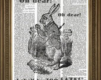 "WHITE RABBIT LATE! Alice in Wonderland Original Vintage Dictionary Page Antique Art Print (8 x 10"")"