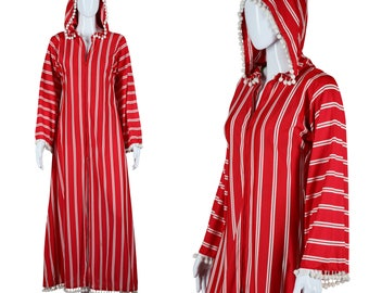 Pom Pom Robe Hooded Cape Red White Striped Beach Cover Up Beach Loungewear 70s Cape 1970s Robe