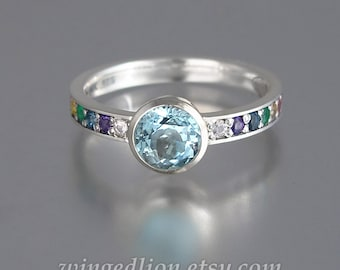 DAPHNE 14k white gold ring with Aquamarine and rainbow gemstones
