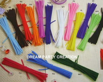 "12"" Chenille ( PIPE CLEANER ) 6MM Stems 25 Per Color Choose  Color"