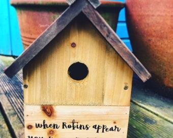 In Memory, Nesting Box, Bird House, Bird Box, Outdoors Ornamental, Memorial, Keep Sake Gift, Personal, Thoughtful Gift,