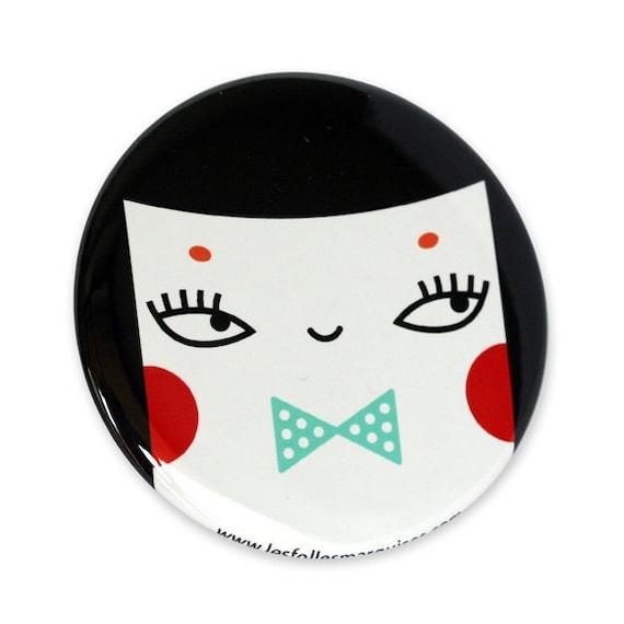 Pocket mirror Oswald - cute accessory - mini bag mirror kawaii - cute character with bowtie illustration - 56 mm