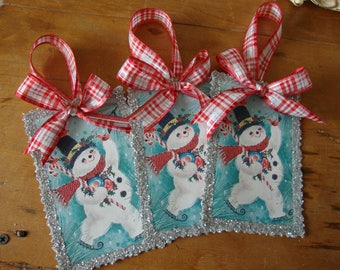Vintage Snomwan ornaments tags retro christmas snowman large paper ornaments gift tags wrapping aqua and red Christmas home decor