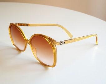 Vintage 70s Christian Dior Women's Sunglasses Optyl Enamel Sparkly Gold Oversized