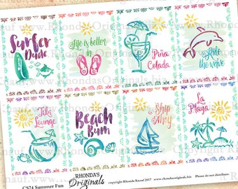 Digital Watercolor Summer Beach Fun ATC Size Clip Art Collage Sheet - INSTANT Download - For Paper Crafts CS74C
