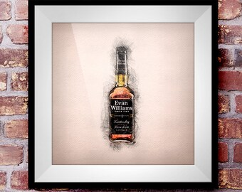 Evan William's Straight Bourbon - Crosshatch Whisky Wall Art
