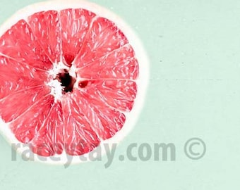 Food Photography, Pink Grapefruit, Mint Green, Pink, Kitchen Print, Kitchen Wall Art, Grapefruit Art
