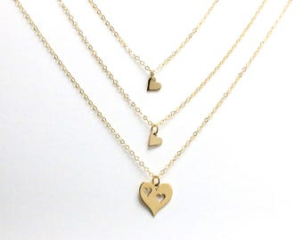 Mother Daughter Necklace Set, Mom and 1 2 3 Girls Necklaces, Gold Heart Mother Necklace, Mom and Daughter Cutout Heart, Charm Necklaces