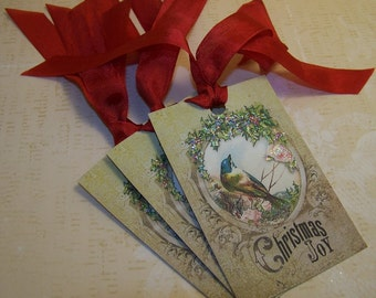 Christmas Bird Tag Christmas Tag Christmas Joy Vintage Style Set of 6 or 9