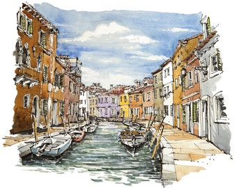 Venice watercolor, Burano view, marine painting, boat painting, nautical painting, channel Painting,  Venice lovers gift, harbor