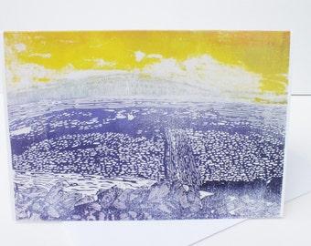 Pen-y-ghent Yorkshire three peaks art card - landscape greetings card