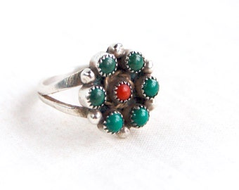 Green Turquoise Red Coral Flower Ring Size 7 Vintage Southwestern Boho Bloom Native American Sterling Silver Desert Jewelry