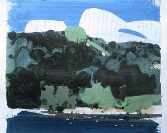 Assiniboine, Original Summer Landscape Collage Painting on Paper, Stooshinoff