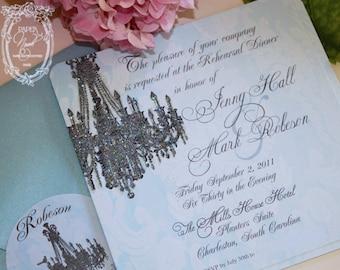 Versailles Chandelier Bleu Damask Invitation Wedding, Engagement, Rehearsal Dinner, Bridal Shower, Event Invitations