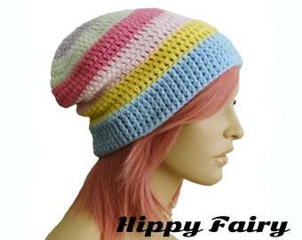 Pastel beanie, pastel hat, pastel goth, pastel grunge,pastel rainbow