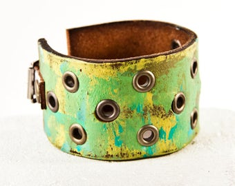 Green Bracelet Leather Jewelry Bright Colorful Yellow Blue