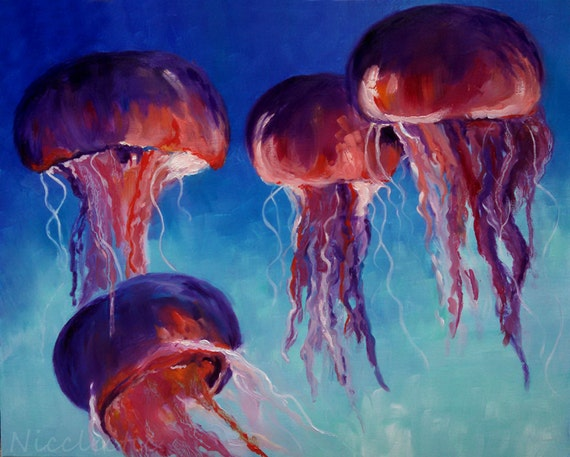 Jellyfish, ocean, colorful jelly fish artwork, pink and blue, sea creatures, original oil painting, underwater, aquarium, Nicclectic